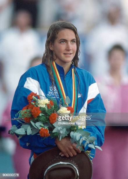 Summer Sanders of the USA winner of one gold one silver and one bronze medal at the World Aquatic Championships in Perth Australia circa January 1991