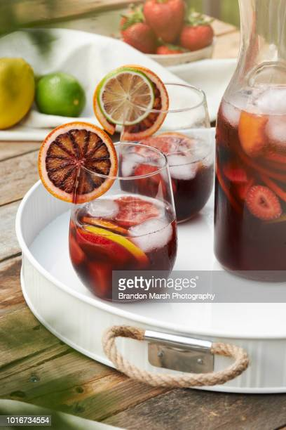 summer sangria - sangria stock pictures, royalty-free photos & images