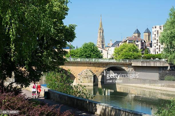 summer scene in metz, france - moselle stockfoto's en -beelden