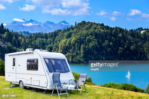 summer scene with czorsztyn lake and tatra mountains landscape, poland - camping stock photos and pictures