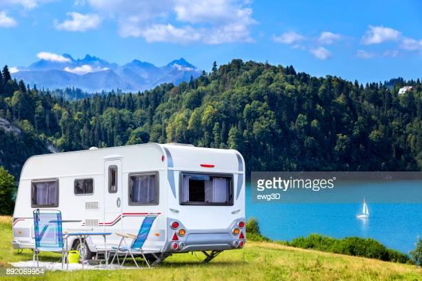 Summer scene with Czorsztyn lake and Tatra Mountains landscape, Poland