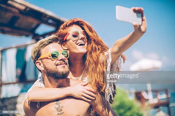summer selfie - honeymoon stock photos and pictures