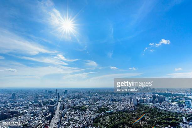 summer sky and sun - town stock pictures, royalty-free photos & images