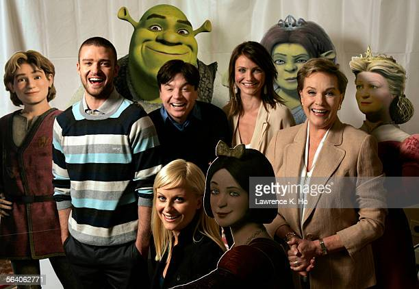 Summer Sneak on Shrek the Third Cast members Justin Timberlake Mike Myers Cameron Diaz Julie Andrews and Amy Poehler gathered at the Four Seasons...