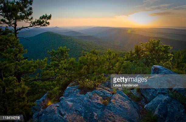 summer solstice on flatside pinnacle - arkansas stock photos and pictures