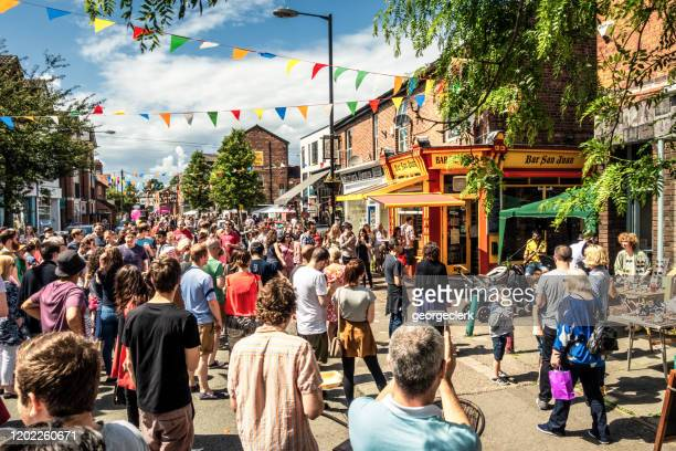 summer street festival in manchester - manchester england stock pictures, royalty-free photos & images