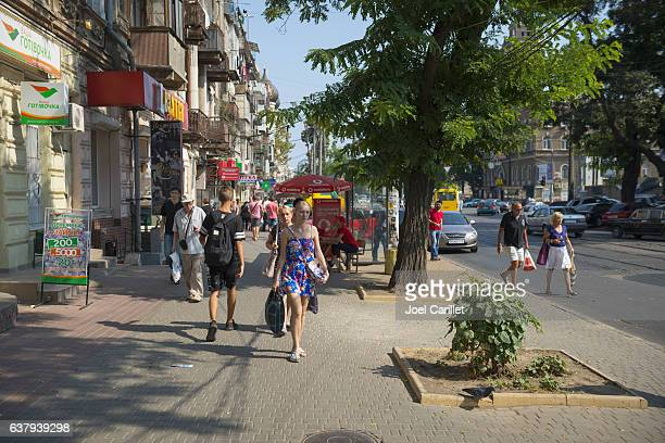 summer street life in odessa, ukraine - odessa ukraine stock photos and pictures
