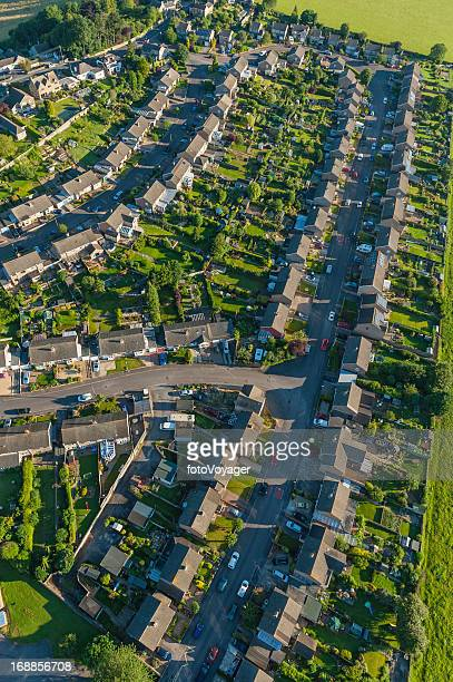 summer suburb streets homes green gardens aerial photo - overhemd en stropdas stock pictures, royalty-free photos & images