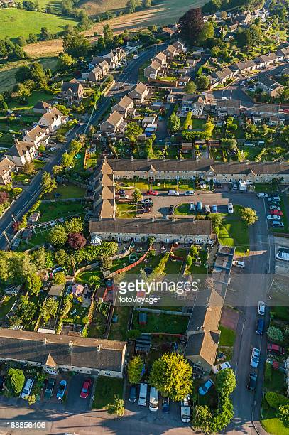 summer suburbs aerial photograph family homes neat gardens - overhemd en stropdas stock pictures, royalty-free photos & images
