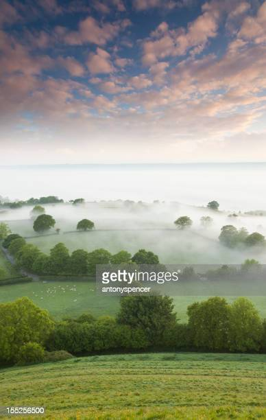 summer sunrise from glastonbury tor - glastonbury england stock pictures, royalty-free photos & images