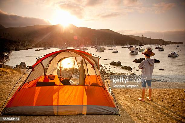 summer sunset at beach side campsite - catalina island stock photos and pictures