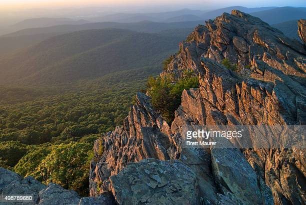 Summer sunset from Humpback Rocks in the Appalachian Mountains of Virginia