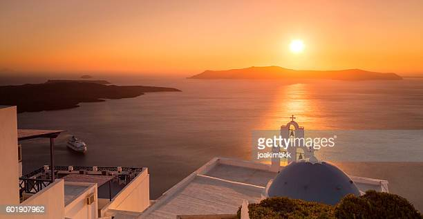 Summer sunset in Santorini island in Greece