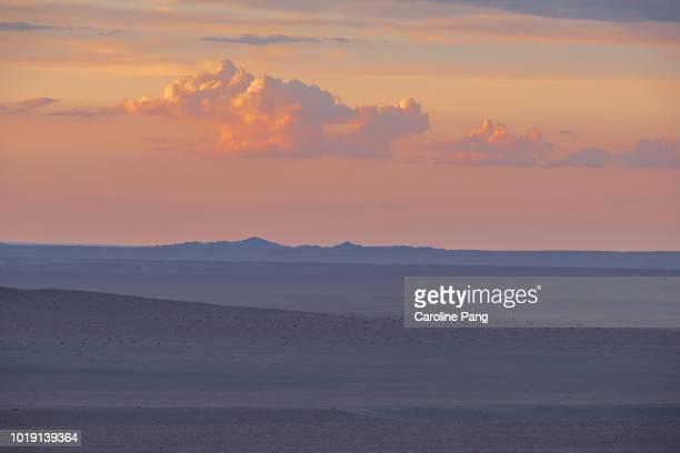 Summer sunset in the Gobi desert of Mongolia.