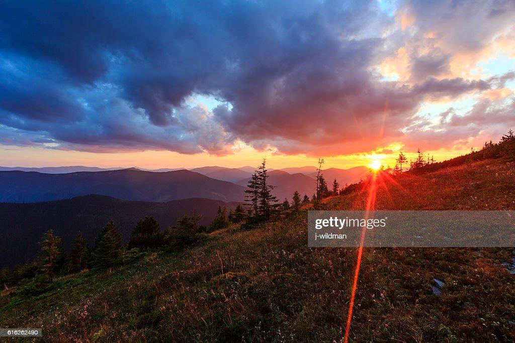 Summer sunset mountain view (Carpathian, Ukraine). : Stock Photo