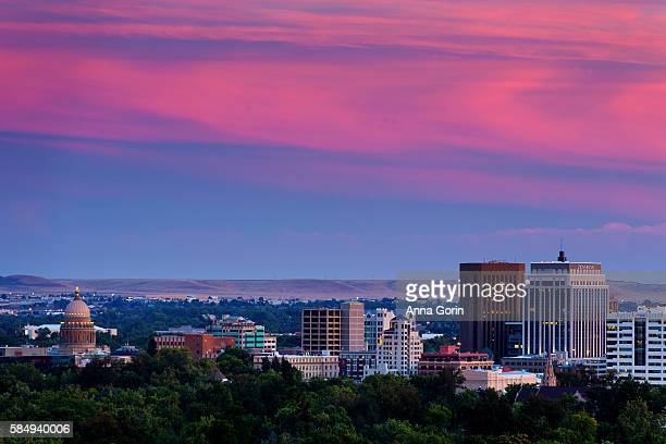 summer sunset over downtown boise idaho viewed from camels back park - boise idaho stock pictures, royalty-free photos & images
