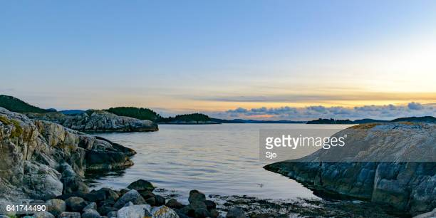 summer sunset over the fjords in norway - coastline stock pictures, royalty-free photos & images