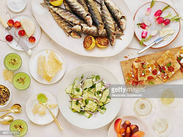 summer table scape horizontal - tapas stock photos and pictures