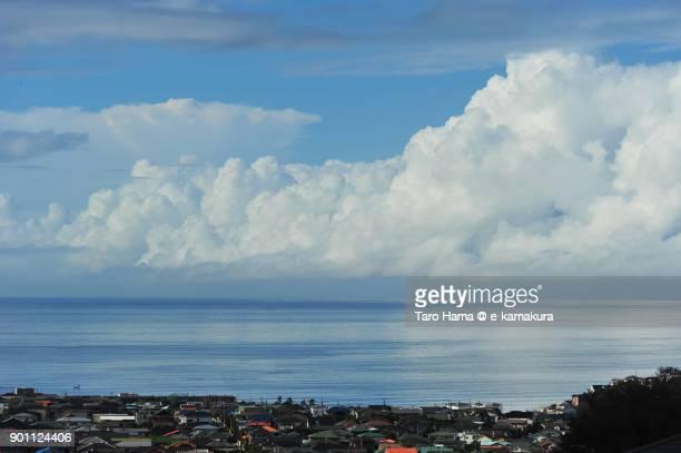 Summer thunder clouds on Sagami Bay in Kanagawa prefecture in Japan