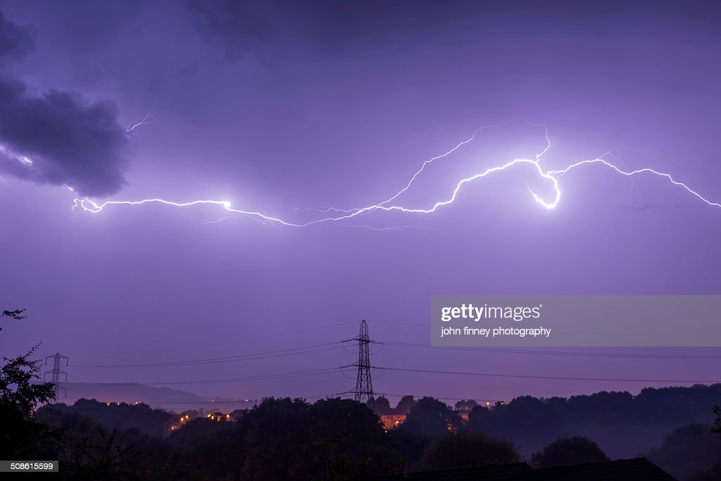 UK summer thunderstorm lightning : Stock Photo