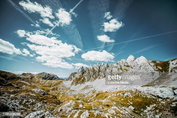 summer time high up on the barren mountain top. sky is cloudy and streaked with airplane trail - named wilderness area stock pictures, royalty-free photos & images