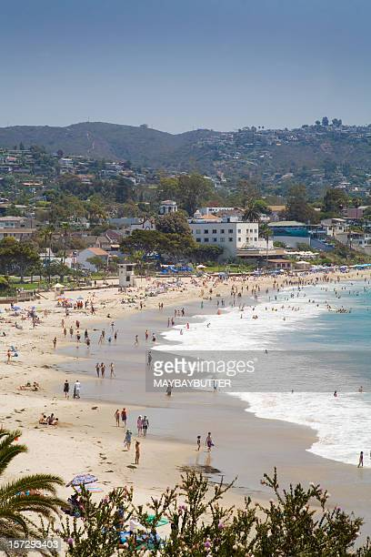 summer time - orange county crowded beaches stock pictures, royalty-free photos & images