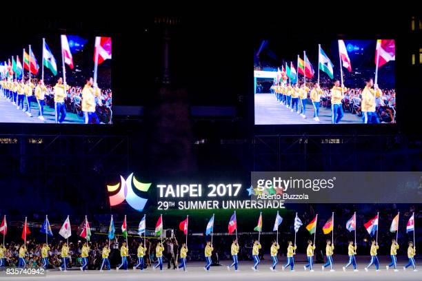 Summer Universiadi of Taipei 2017 The flag bearers of the 141 nations that participate at the Taiwan Summer Universiadi parades in the final stage of...