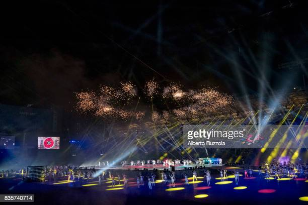 Summer Universiadi of Taipei 2017 Towards the grand finale the Taipei Arena lit up with fireworks and laser lights while performers stage a play...