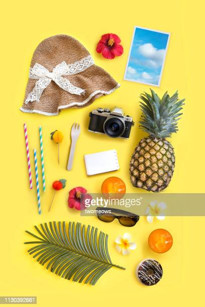 summer vacation objects. - accessoires stock-fotos und bilder