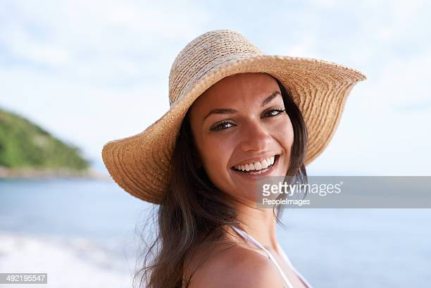 summer vacation's in the air - sun hat stock pictures, royalty-free photos & images