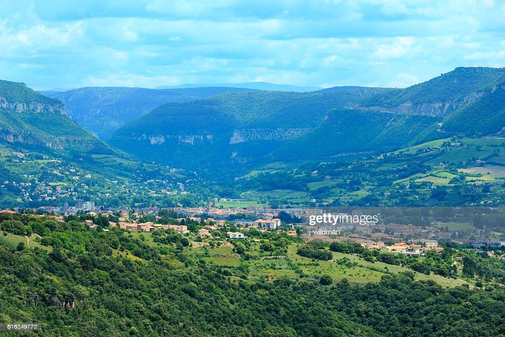 Summer valley River Tarn, France. : Foto de stock