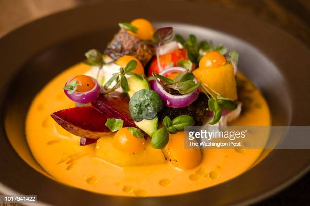 Summer Vegetable Insalata with Full Belly Farm yellow watermelon heirloom tomato kashiwase stone fruit marinated feta and yellow gazpacho served at...