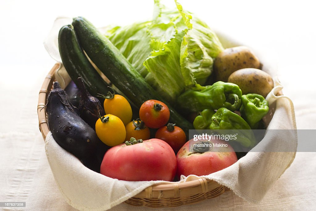 Summer Vegetables In Basket : Stock Photo