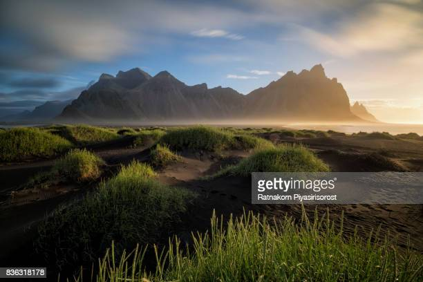 Summer Vestrahorn in Sunrise Scene