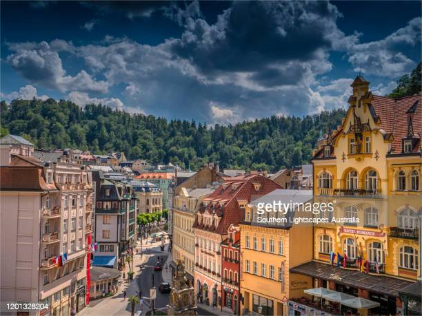 a summer view of buildings and architecture of the city of karlovy vary, western bohemia, czech republic. - karlovy vary stock pictures, royalty-free photos & images