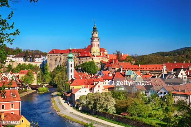 summer view of cesky krumlov - cesky krumlov castle stock photos and pictures