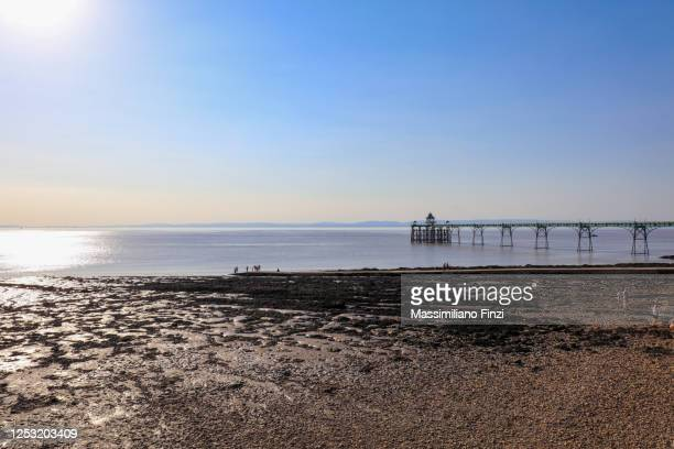 summer view of clevedon pier against blue sky with low tide and the sea grass on the beach - clevedon pier stock pictures, royalty-free photos & images