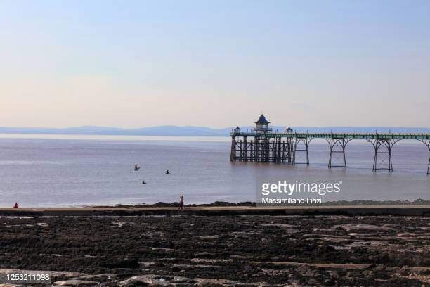summer view of clevedon pier against blue sky with low tide and the sea grass on the beach - clevedon pier ストックフォトと画像