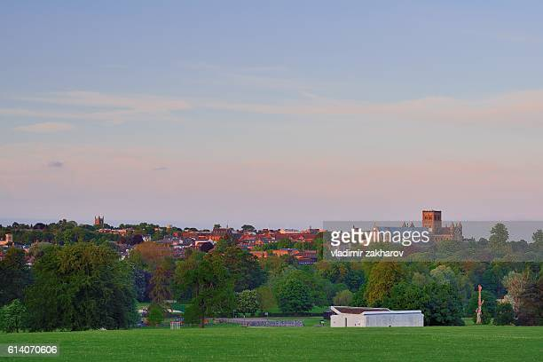 summer view of st albans city skyline - hertfordshire stock pictures, royalty-free photos & images