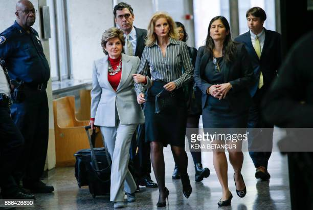 Summer Zervos a former contestant on The Apprentice arrives with lawyer Gloria Allred at the New York County Criminal Court on December 5 in New York...