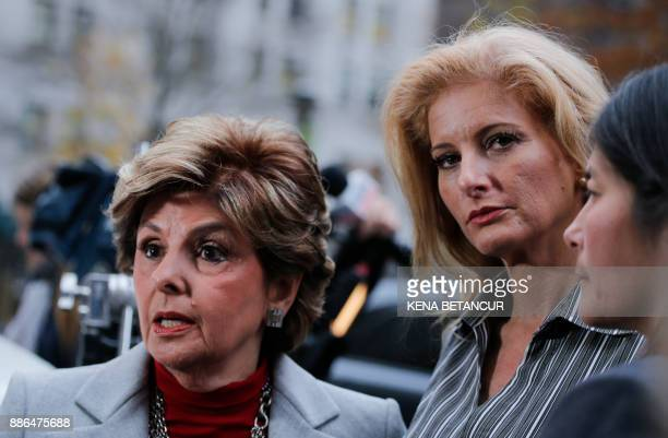 Summer Zervos a former contestant on The Apprentice looks at the camera as she stands with lawyer Gloria Allred after they leave the New York County...