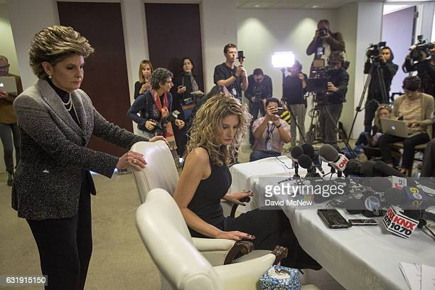 Summer Zervos and attorney Gloria Allred arrive at a press conference with attorney Gloria Allred to announce their defamation lawsuit against...