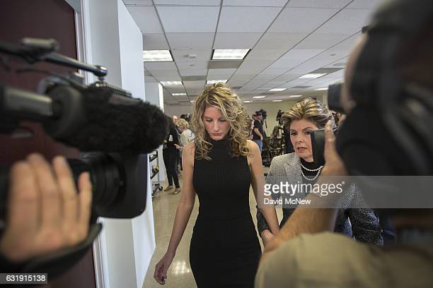 Summer Zervos and attorney Gloria Allred leave a press conference announcing their defamation lawsuit against Presidentelect Donald Trump on January...