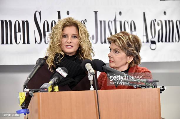 Summer Zervos and Gloria Allred speak during the Accusers of President Donald Trump Hold Press Conference With Attorney Gloria Allred At The Women's...