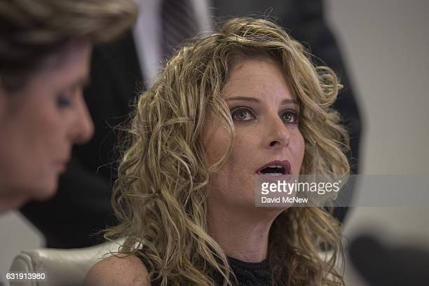 Summer Zervos attends a press conference with attorney Gloria Allred to announce their defamation lawsuit against Presidentelect Donald Trump on...