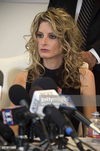 Summer Zervos attends a press conference with her attorney Gloria Allred to announce the filing of a lawsuit against Presidentelect Donald Trump in...