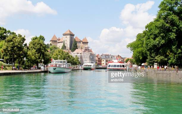 summers's day at lake annecy - auvergne rhône alpes stock photos and pictures