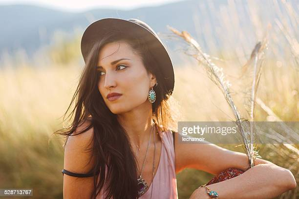 Summertime fashion portrait in the nature