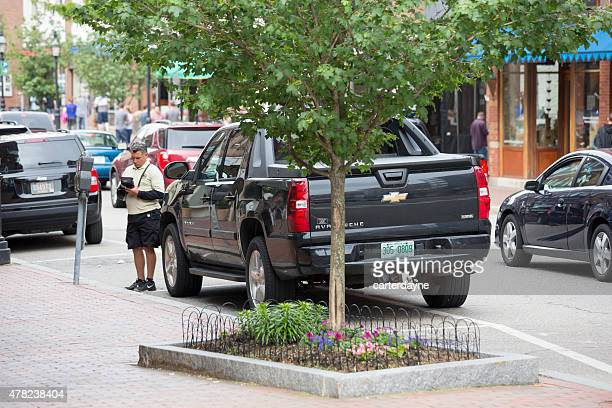 summertime in portsmouth, new hampshire east coast usa - parking valet stock photos and pictures