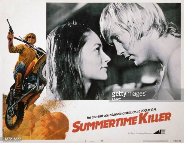 Summertime Killer US lobbycard from left Olivia Hussey Christopher Mitchum 1972
